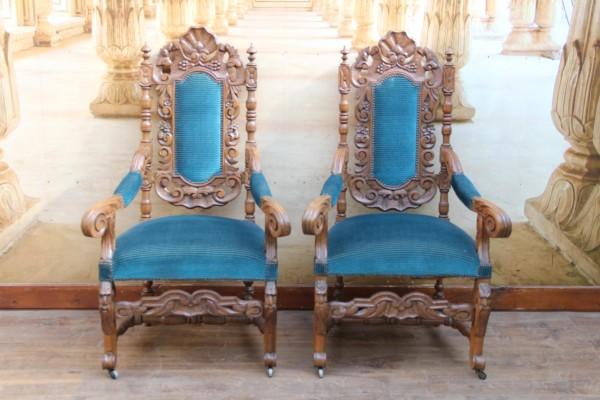 2 Gründerzeit Armlehnen-Stühle - Bürosessel - Armlehnensessel