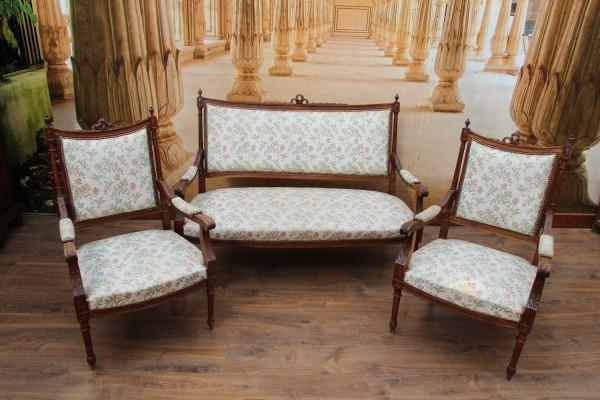 Gründerzeit Sitzgruppe, 2 Sessel mit Sofa